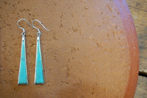 EARRINGS - Thin Triangle Dangles - Abalone, Turquoise
