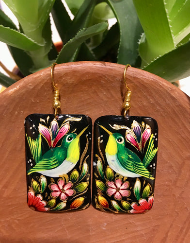 EARRINGS - Hand Painted Copper Bird Dangles