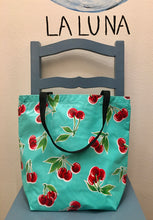 Load image into Gallery viewer, TOTE BAG - Oilcloth Tote Medium - Cherries Lt Blue