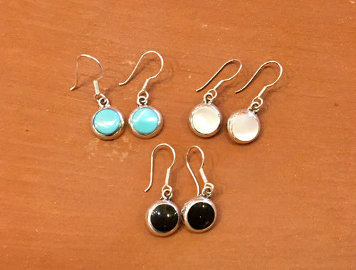 EARRINGS - Circles - Turquoise, Mother Pearl, Onyx