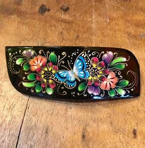 BARRETTE - Hand Painted Blue Butterfly Barrette