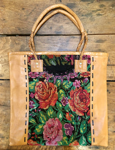 TOTE - Huipil and Leather Tote - 3 Colors