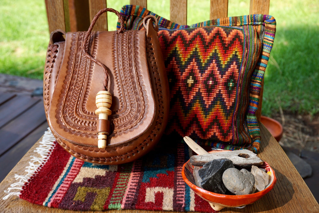 PURSE - Mexican Tooled Leather Purse - Teardrop Shape