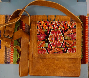 PURSE - Guatemalan Leather Huipil Crossbody Purse - Adjustable