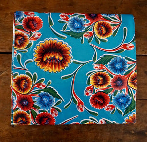 "TABLECLOTH - 48"" X 48"" Oilcloth Tablecloth - Bloom Turquoise"