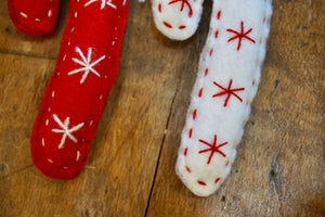 ORNAMENT - Embroidered Candy Cane