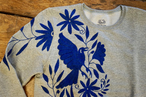 SWEATSHIRT-  Hand Embroidered Otomi Sweatshirt -  Size Medium