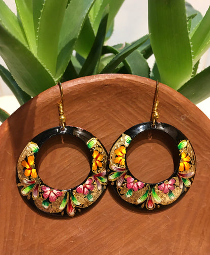 EARRINGS - Hand Painted Copper Flower Dangles
