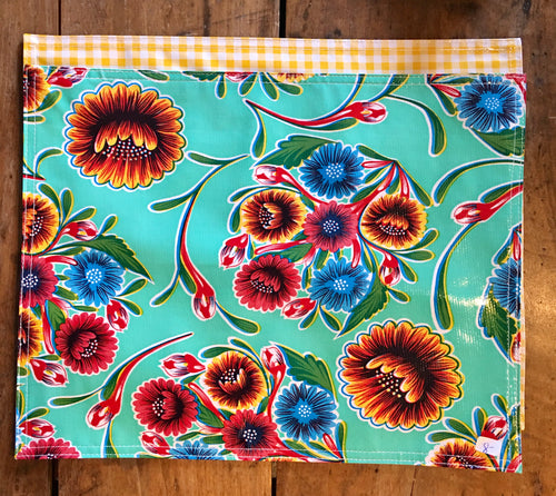 PLACEMAT - Oilcloth Placemat - Bloom Lt Blue & Yellow Gingham