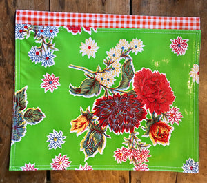 PLACEMAT - Oilcloth Placemat - Mums Green & Orange Gingham