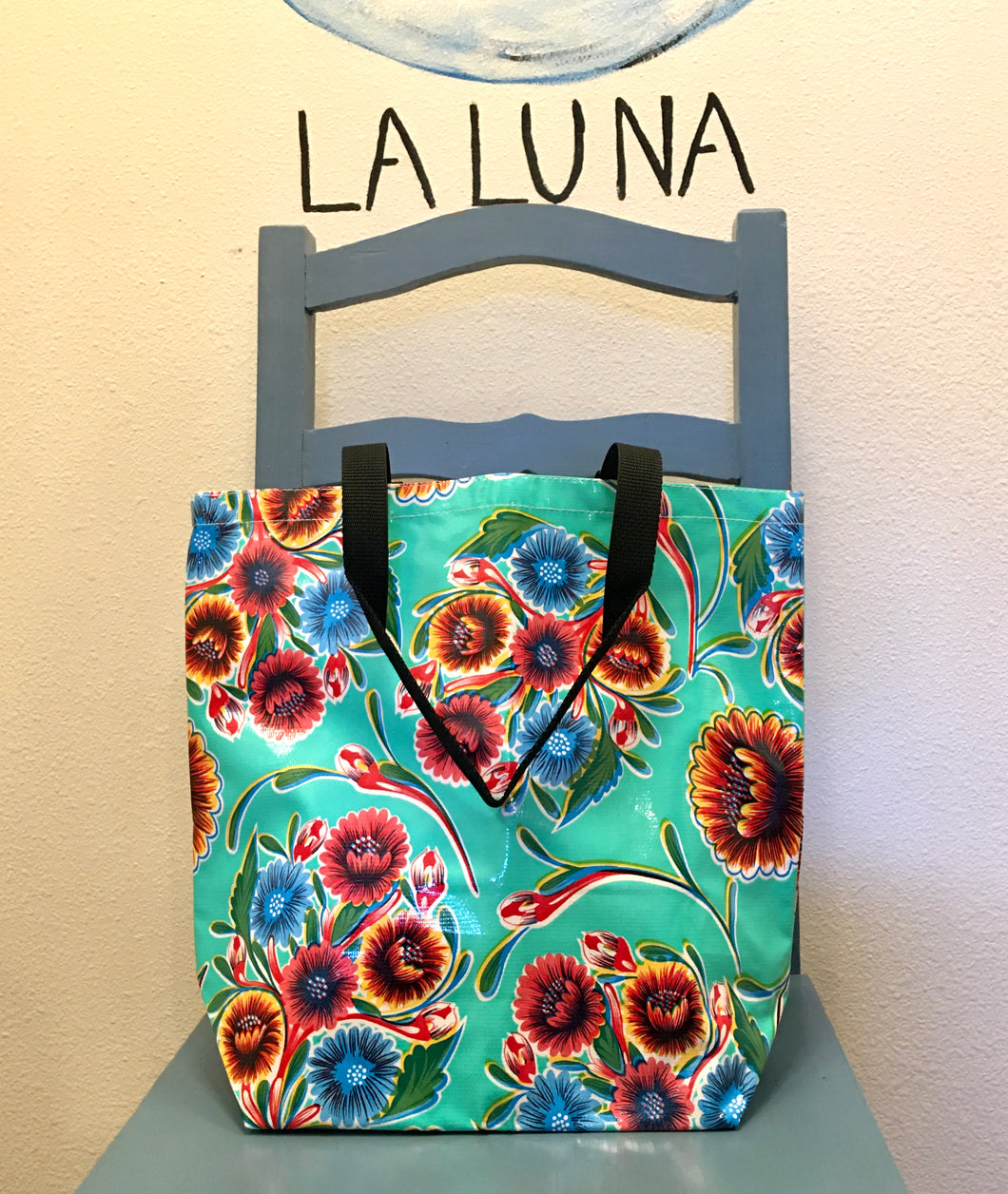 TOTE BAG - Oilcloth Tote Medium - Bloom Lt Blue