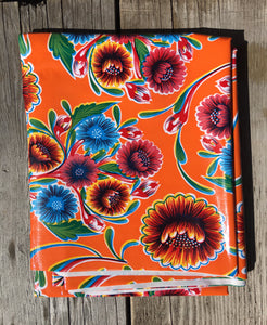 "TABLECLOTH 48"" X 70"" Oilcloth Tablecloth - Bloom Orange"