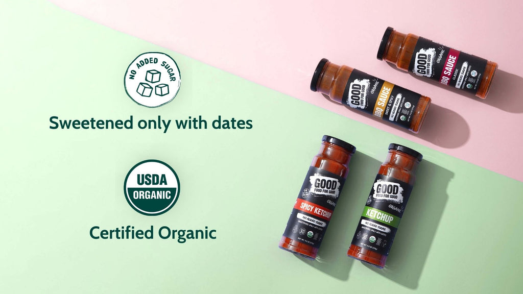 Good Food For Good Ketchups and BBQ Sauces have no added sugar and are sweetened only with dates, certified organic!