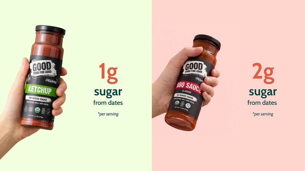 Good Food For Good Ketchup only has 1g of sugar/ serving from dates! Good Food For Good BBQ sauce only has 2g of sugar/ serving from dates!