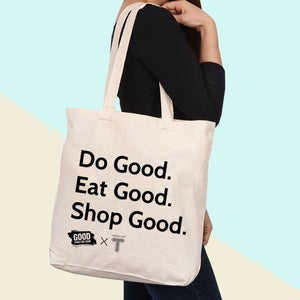 Load image into Gallery viewer, good food for good tote gives back to those in need. buy one feed one. do good tote. shop good. shop local.