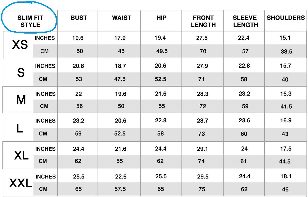 Slim-Fit Style Size Chart
