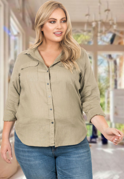 Lete Kakhi linen shirt for women plus size