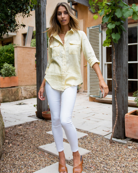 illuminating yellow shirt linen
