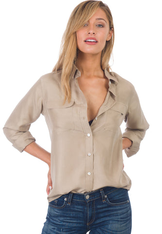 khaki silk shirt blouse