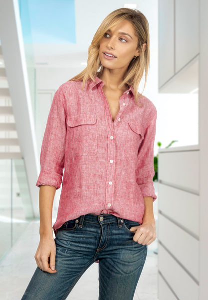 red chambray linen shirt