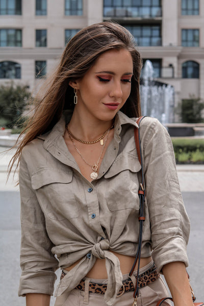 The LETE khaki linen shirt for women