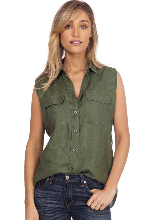Aura Army Green, Sleeveless Linen Shirt with Pockets