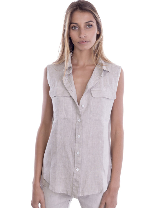 Aura Natural, Sleeveless Linen Shirt with Pockets