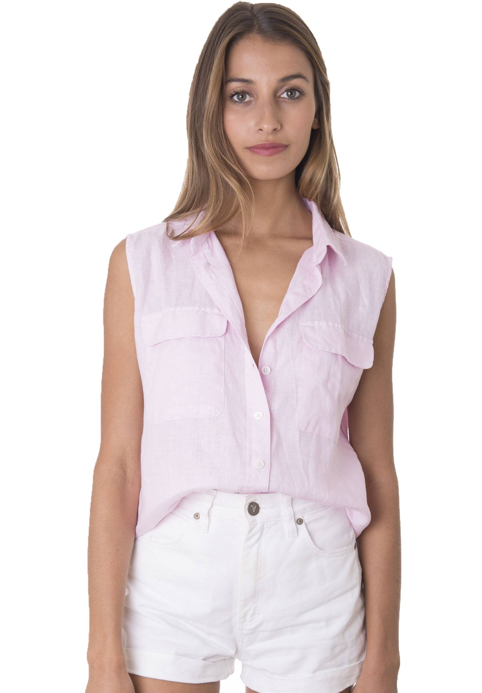 Aura Pink, Sleeveless Linen Shirt with Pockets