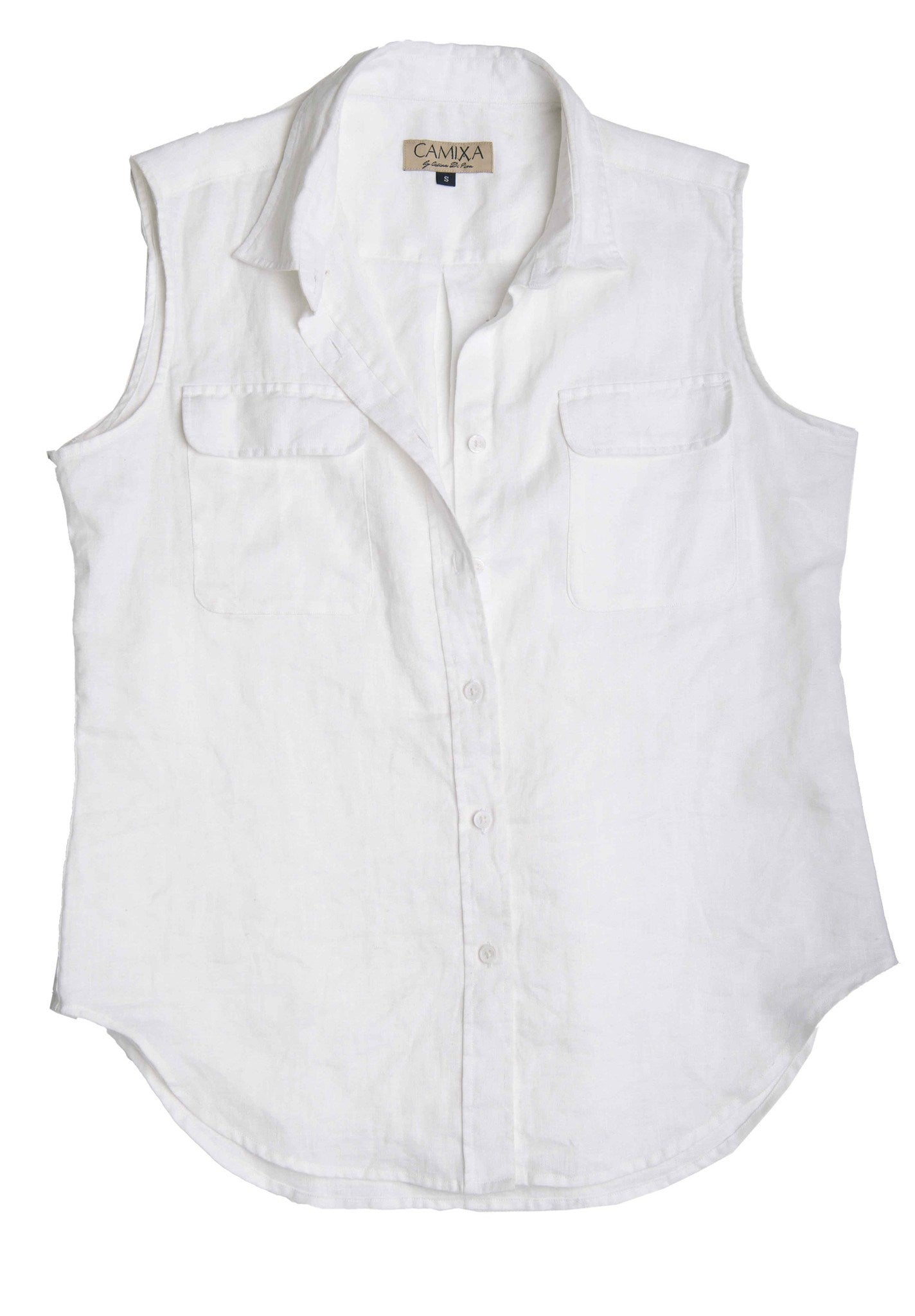 Aura White, Sleeveless Linen Shirt with Pockets