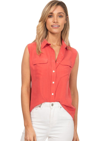 Lete Rust, Relaxed Linen Shirt with Pockets