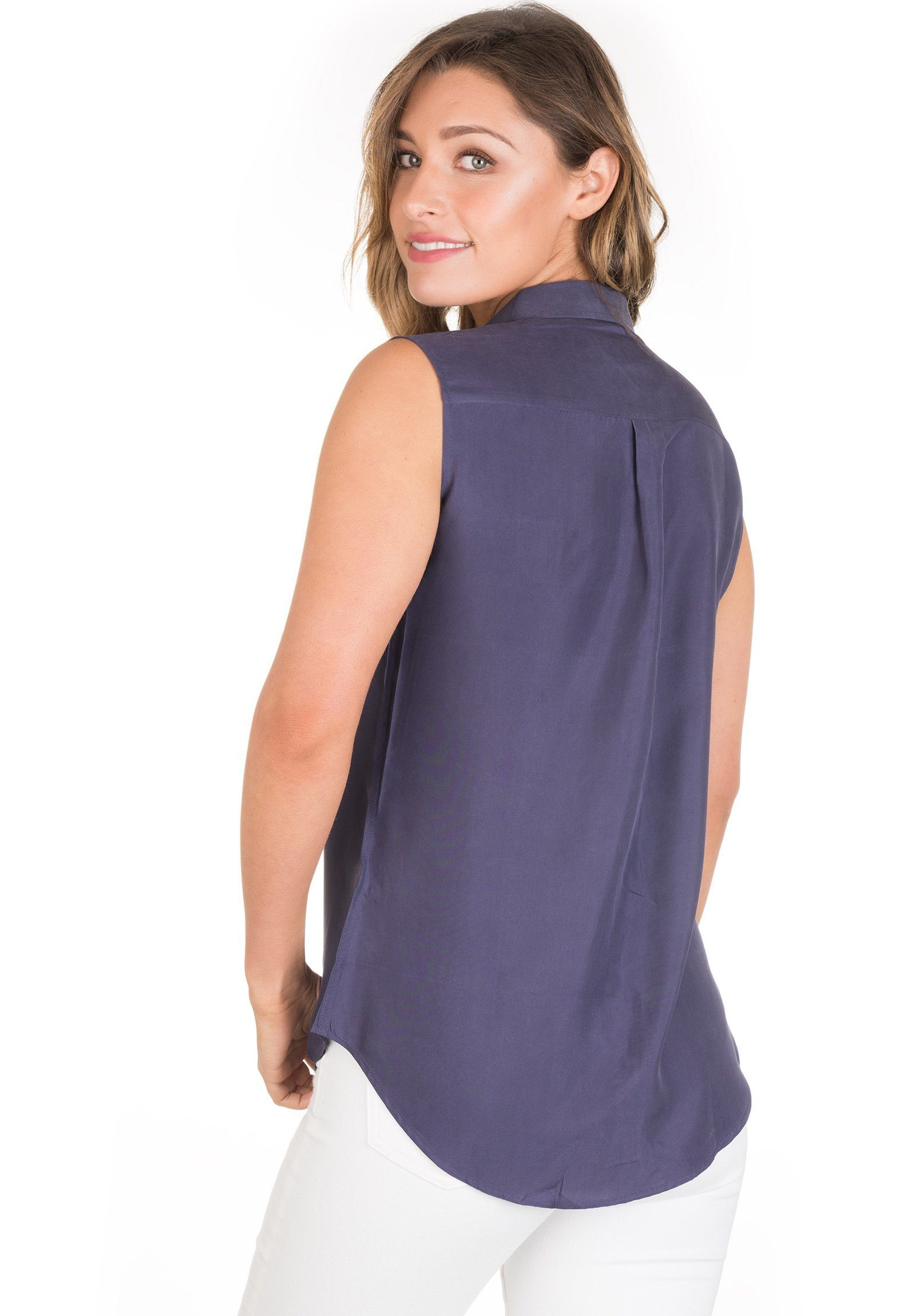Aura Silk Blue, Sand-washed sleeveless shirt with pockets