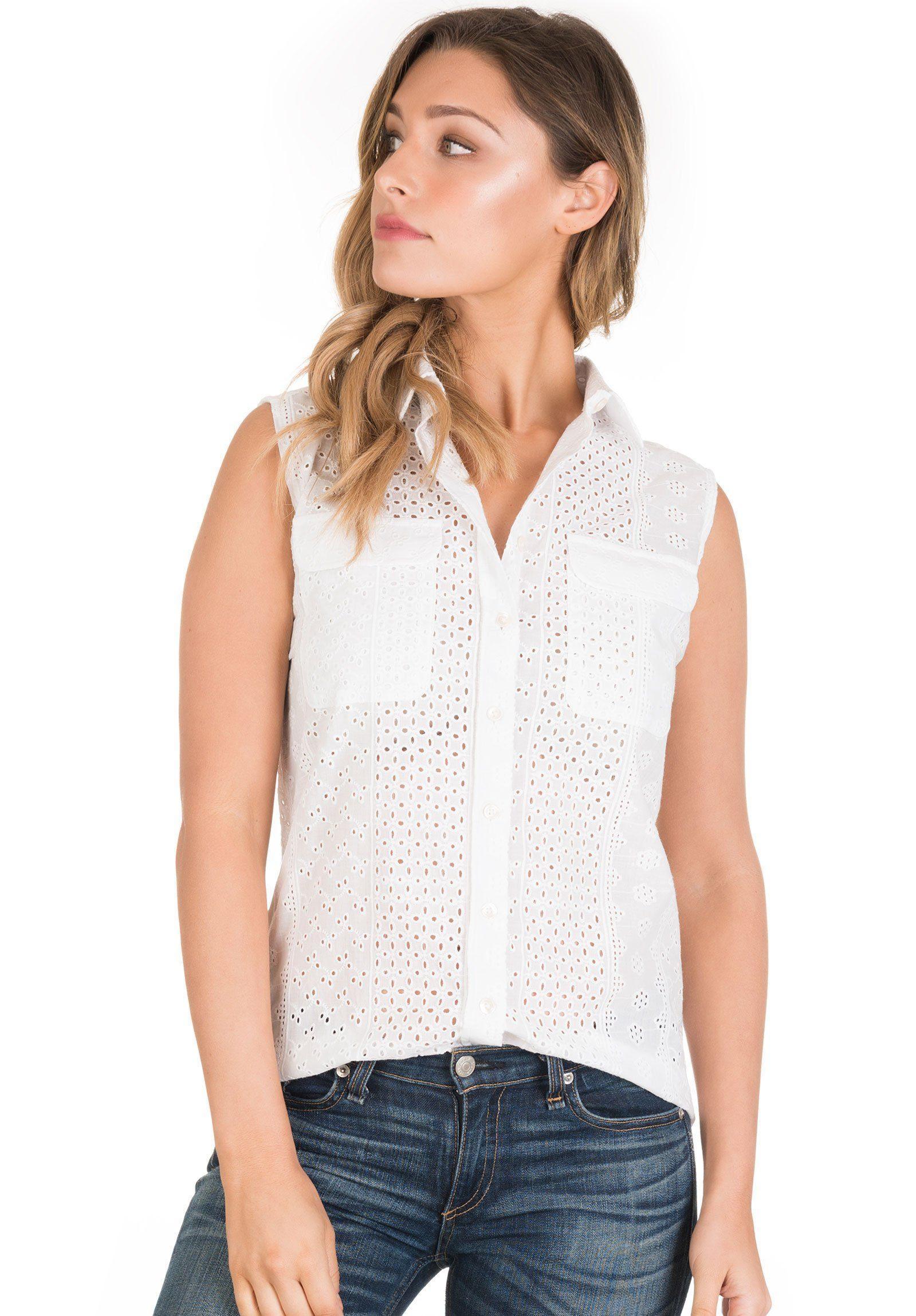 Aura Lace White, Sleeveless Broderie Anglaise Shirt with Pockets