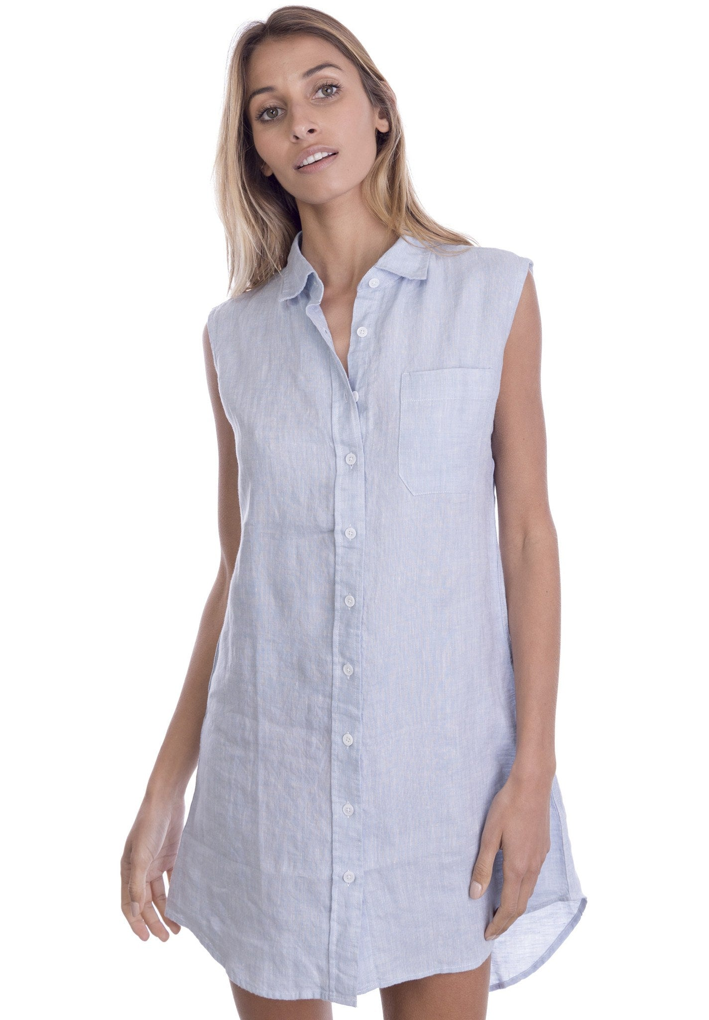 Bia Azure, Sleeveless Summer Shirt-dress