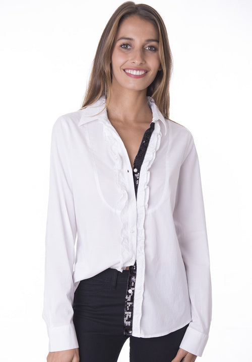 Black Paillettes White Ruffled shirt