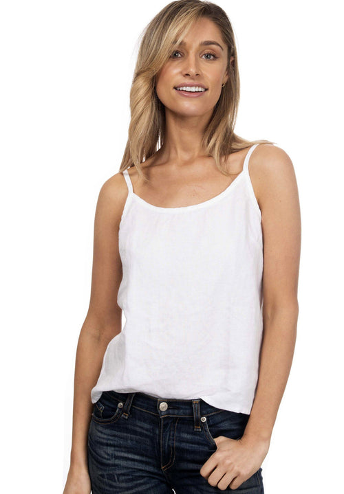 Cami-O Round-neck Linen Top White
