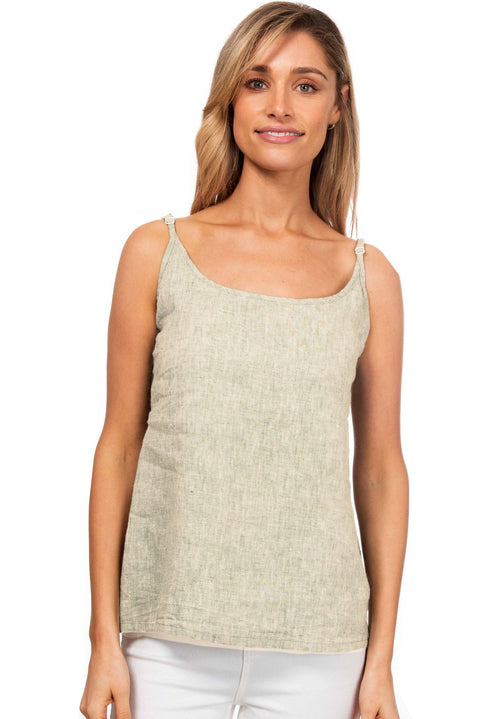 Cami-O Round-neck Linen Top Natural