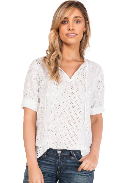 Caterina Lace White, Broderie Anglaise Popover Blouse