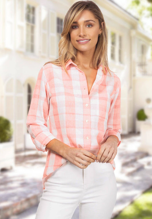 Plaid, Pink & White linen check shirt