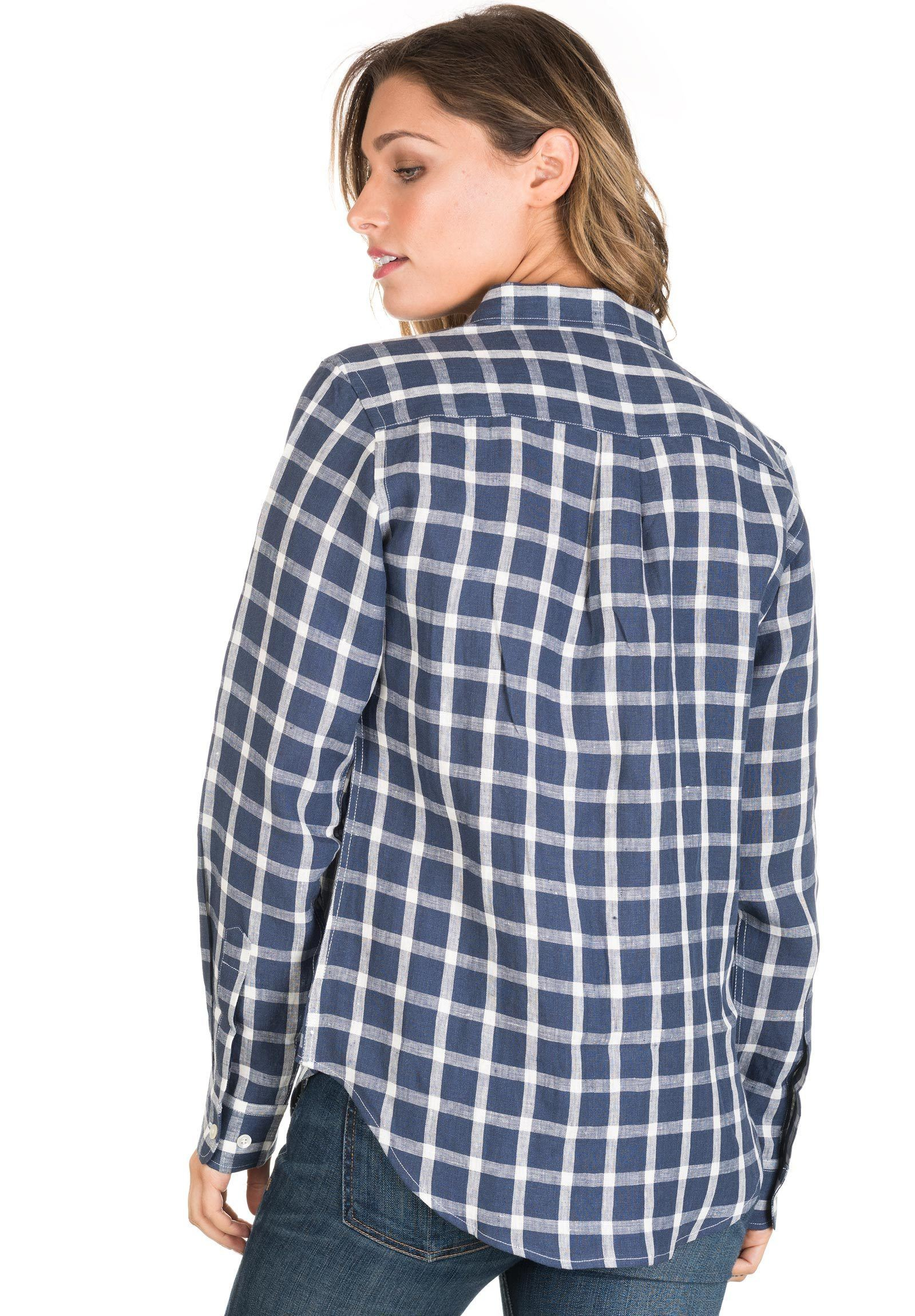 Grid, Blue & White linen check shirt