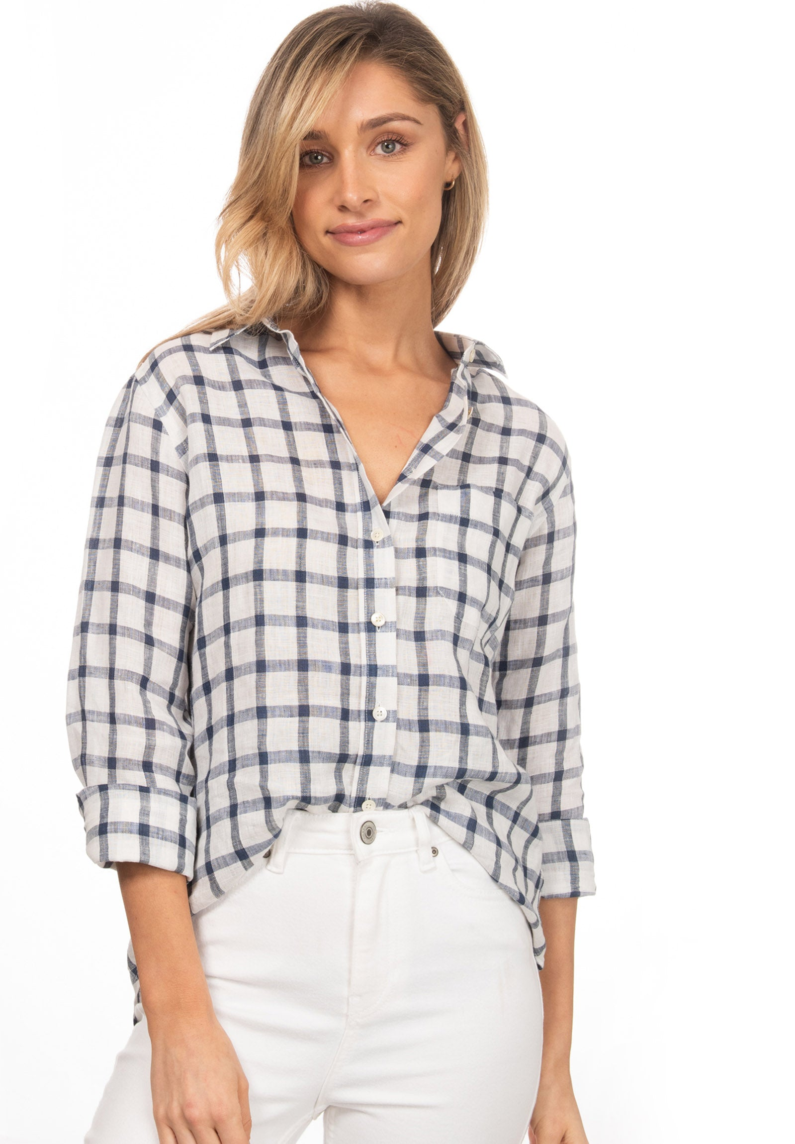 Grid, White & Blue linen check shirt