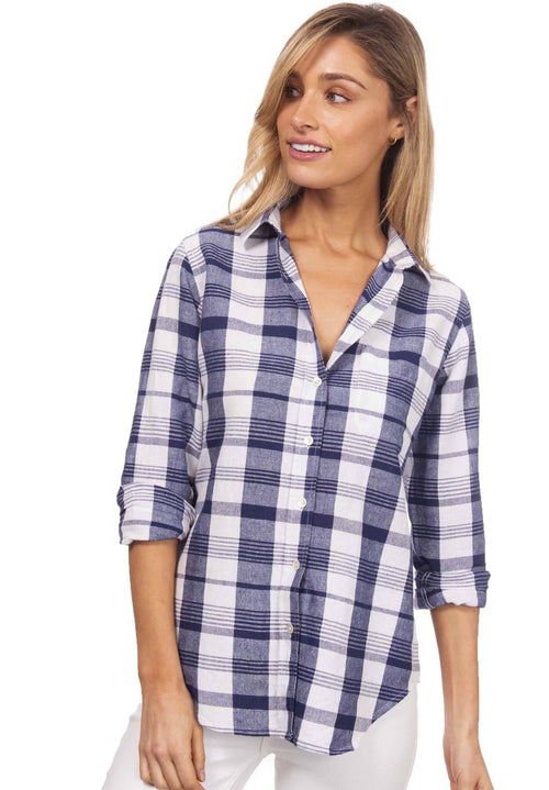 Plaid, White & Blue linen check shirt
