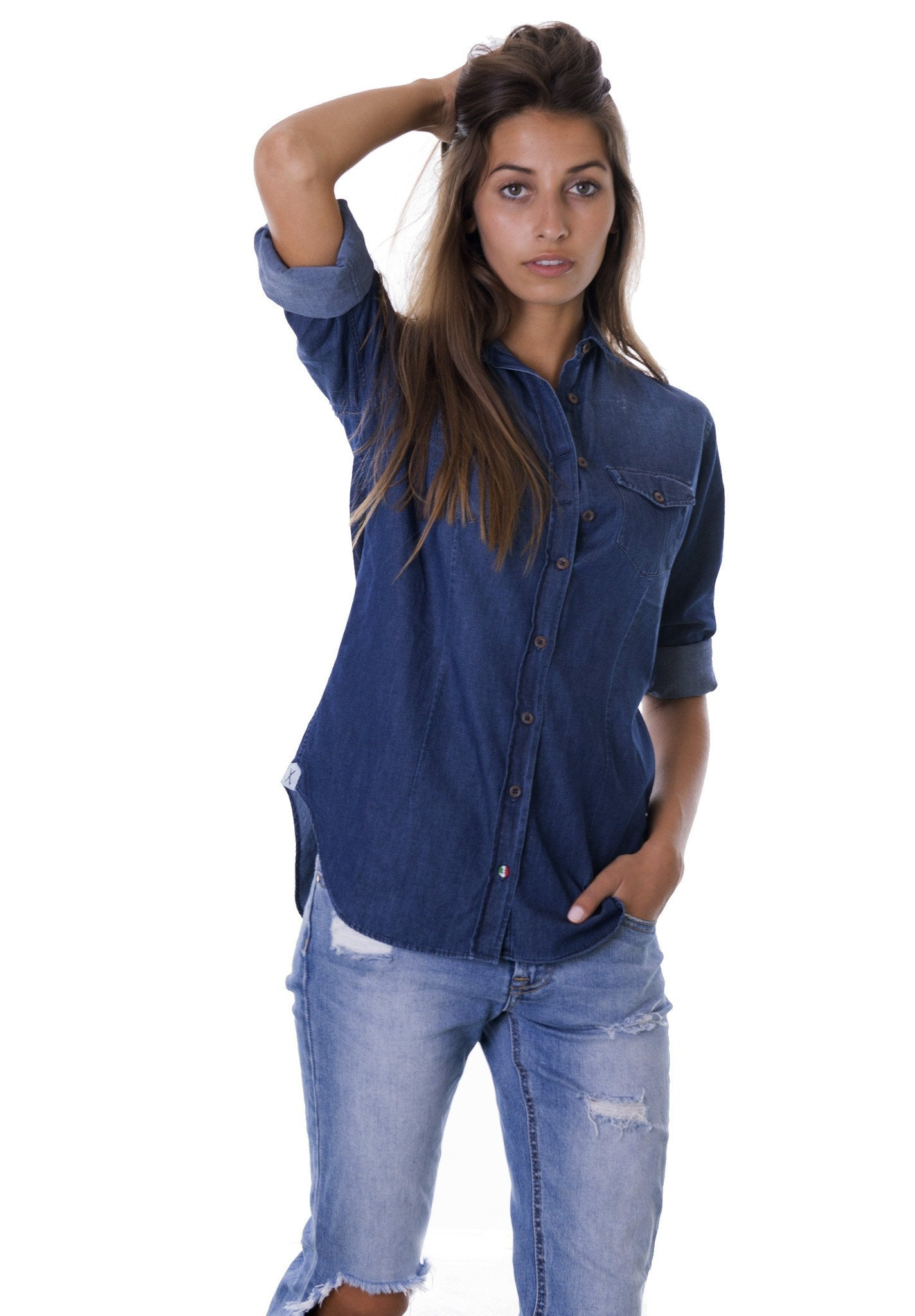 De-Nimes Stone Wash Denim Shirt