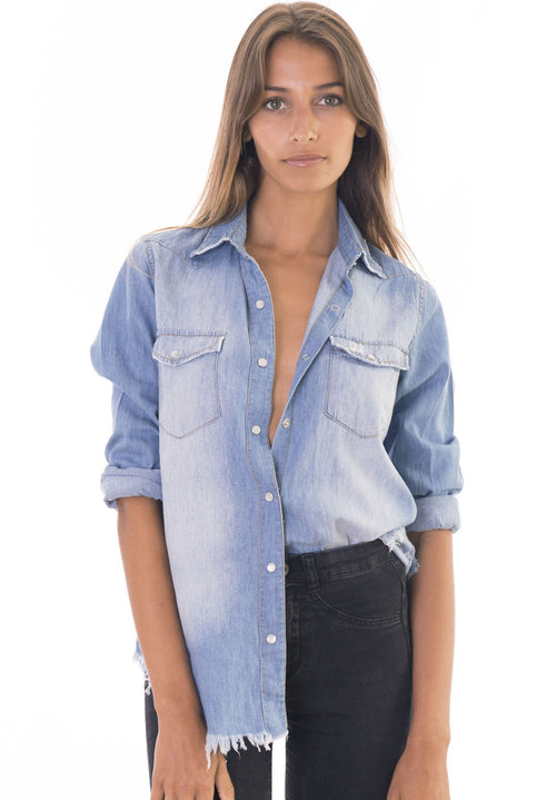 Denim Rock Frayed Hem Indigo Shirt