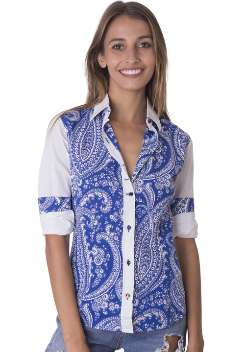 Elettrica Blue Paisley fitted shirt