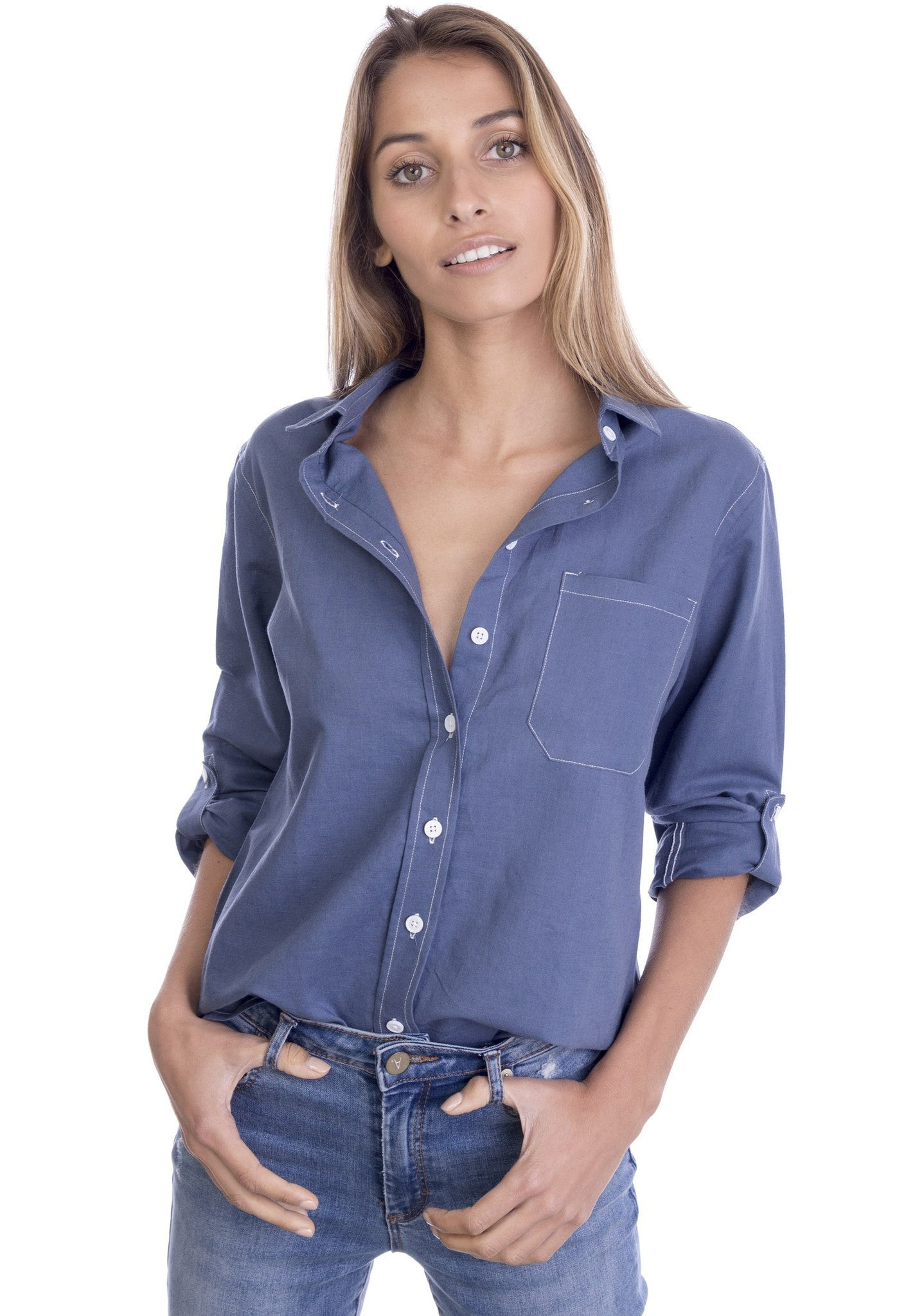 Febe Prussian Blue, Casual linen shirt with roll-up tabs