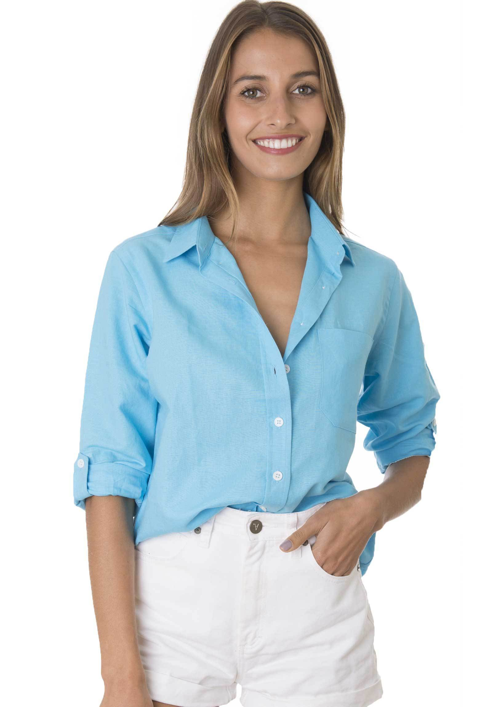 Febe Turquoise, Casual linen shirt with roll-up tabs