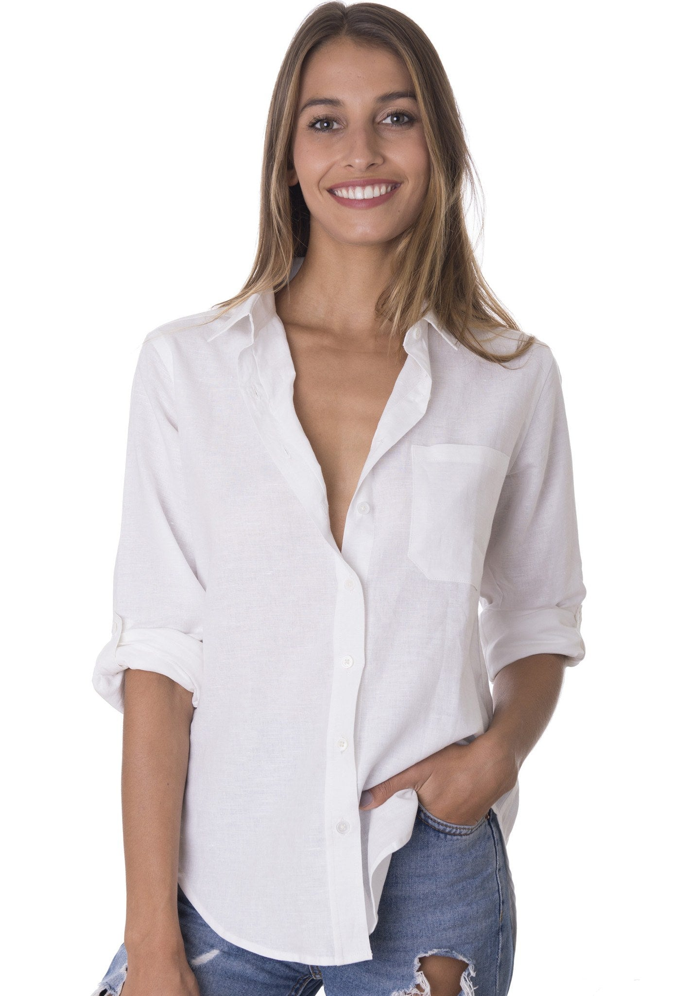 febe white casual linen shirt with roll up tabs camixa