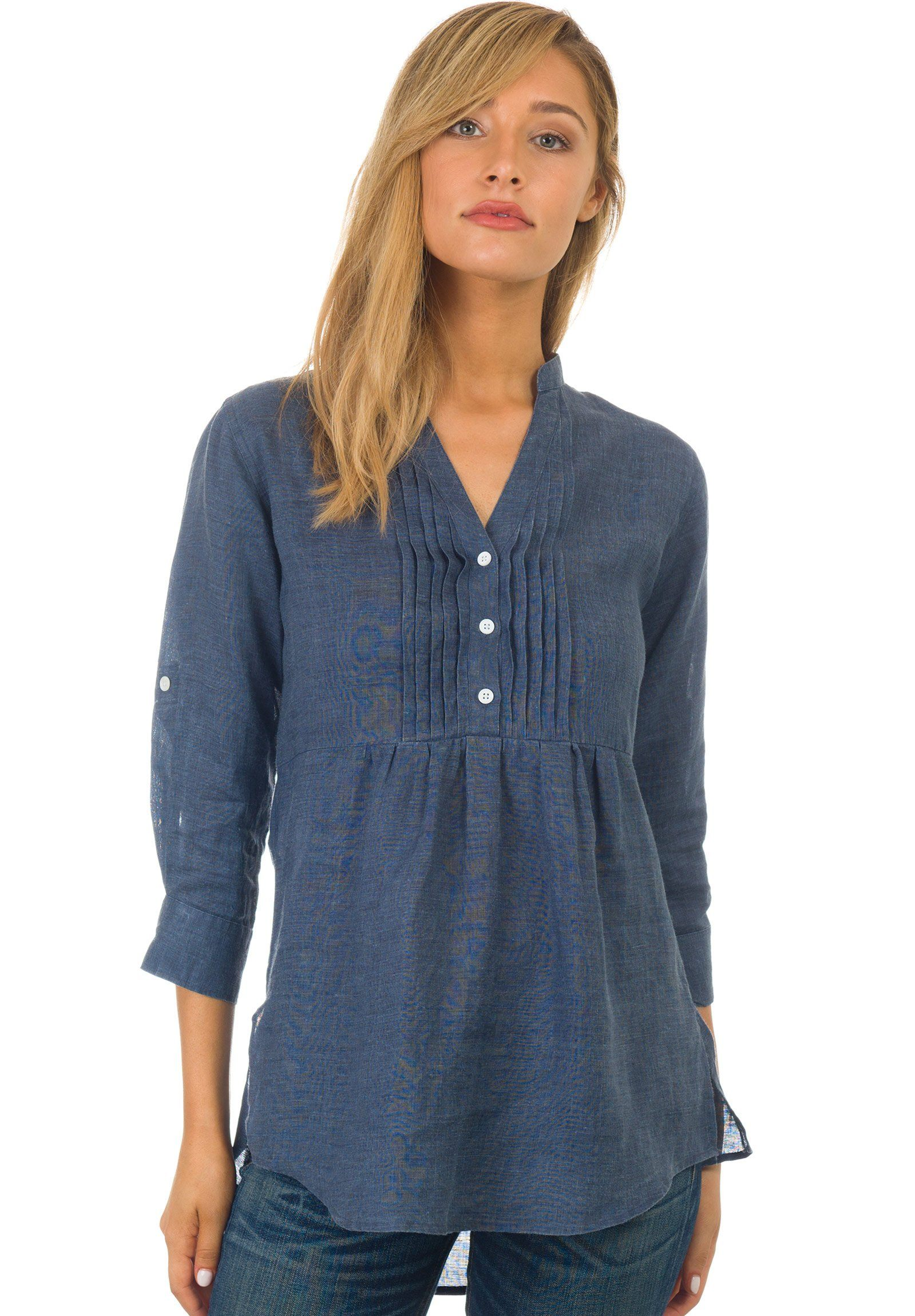 Fiona Indigo, Linen Pop-Over Pintuck Blouse