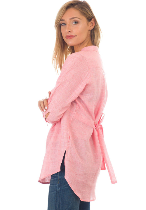 Fiona Pink Coral, Linen Pop-Over Pintuck Blouse