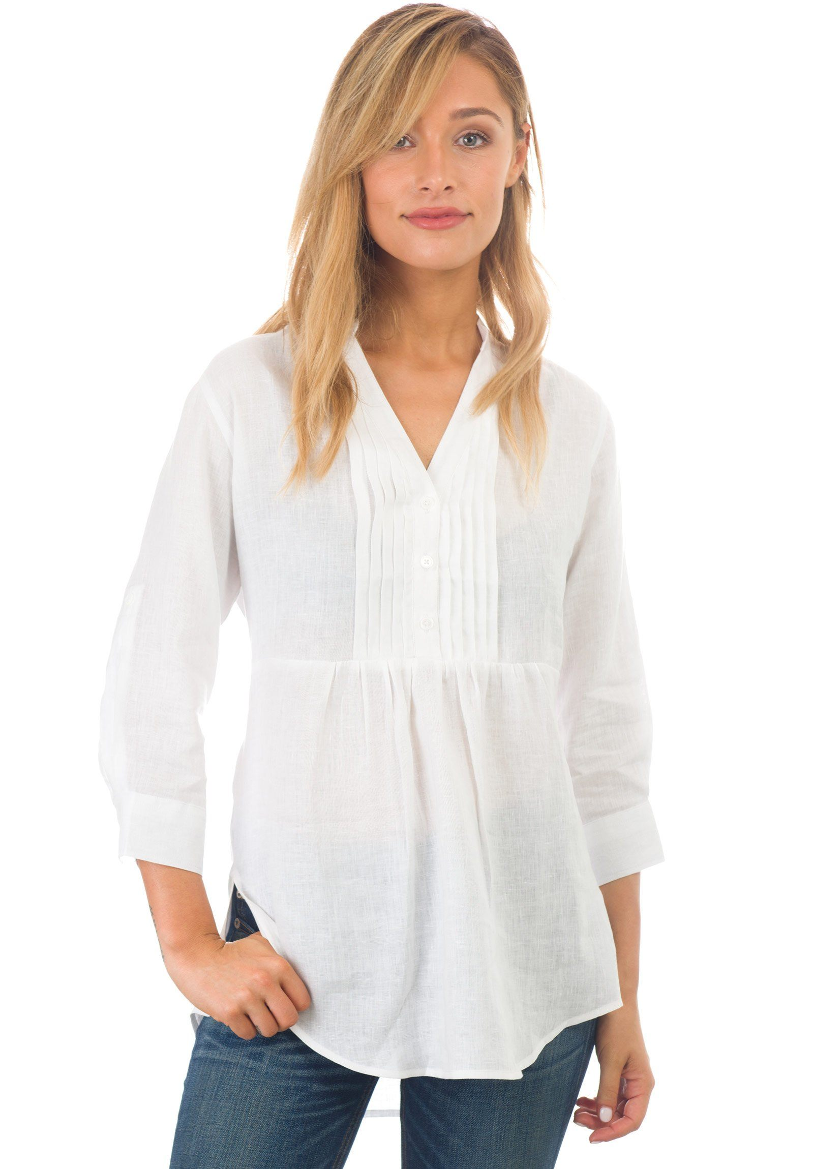 Fiona White, Linen Pop-Over Pleated Blouse